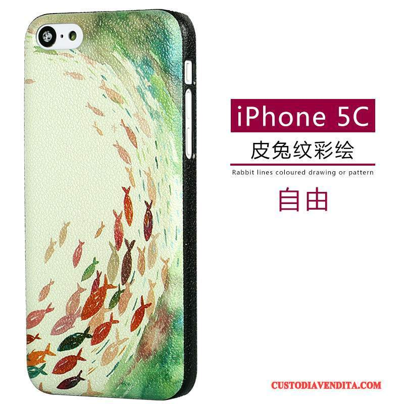 Custodia iPhone 5c Pelle Modellotelefono, Cover iPhone 5c Cartone Animato Verde Macchiati