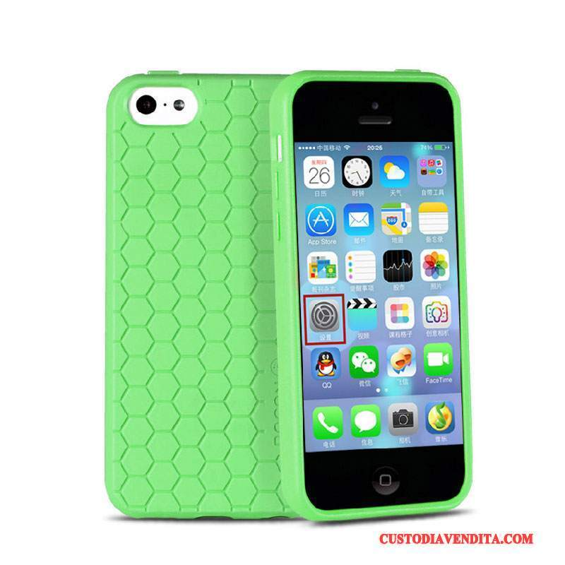 Custodia iPhone 5c Silicone Telefono Verde, Cover iPhone 5c Creativo Morbido Macchiati