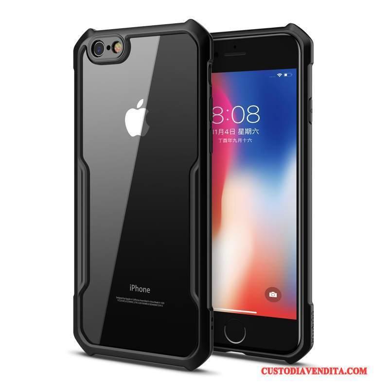 Custodia iPhone 6/6s Creativo Trasparente Nero, Cover iPhone 6/6s Silicone Sottile Tutto Incluso