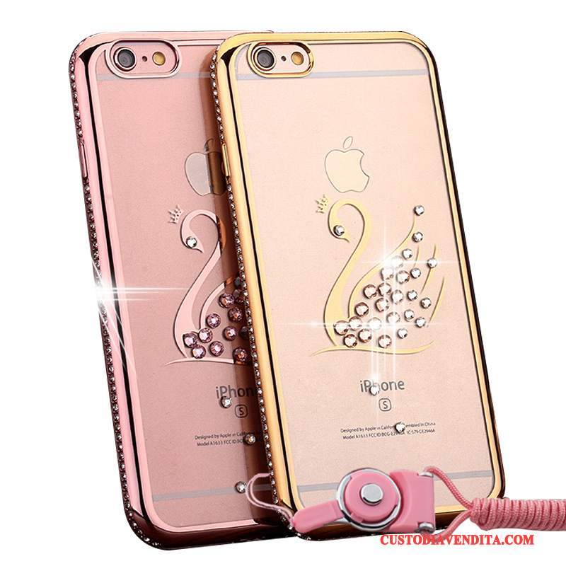 Custodia iPhone 6/6s Plus Strass Tendenza Oro, Cover iPhone 6/6s Plus Rosatelefono