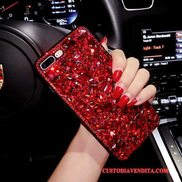 Custodia iPhone 6/6s Strass Lusso Rosso, Cover iPhone 6/6s Silicone Telefono Europa