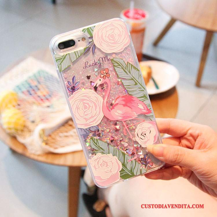 Custodia iPhone 7 Colore Rosa Fiori, Cover iPhone 7 Uccellotelefono