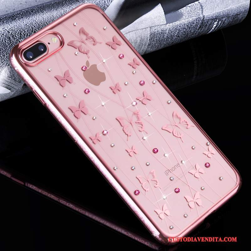 Custodia iPhone 7 Plus Creativo Anti-caduta Trasparente, Cover iPhone 7 Plus Strass Rosa Tutto Incluso