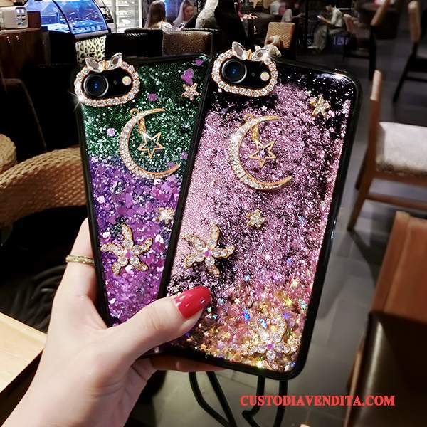 Custodia iPhone 7 Plus Creativo Liquido Rosa, Cover iPhone 7 Plus Strass Sabbie Mobili Porpora