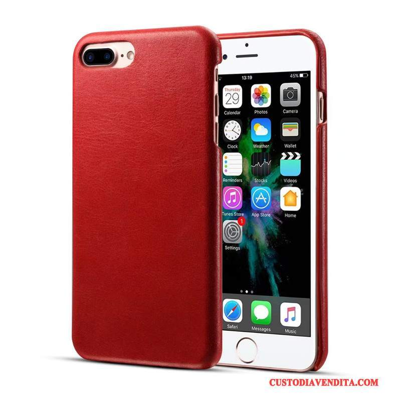 Custodia iPhone 7 Plus Pelle Affari Rosso, Cover iPhone 7 Plus Protezione Telefono Anti-caduta