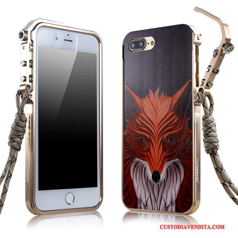 Custodia iPhone 7 Plus Protezione Telefono Anti-caduta, Cover iPhone 7 Plus Rosso Metallo