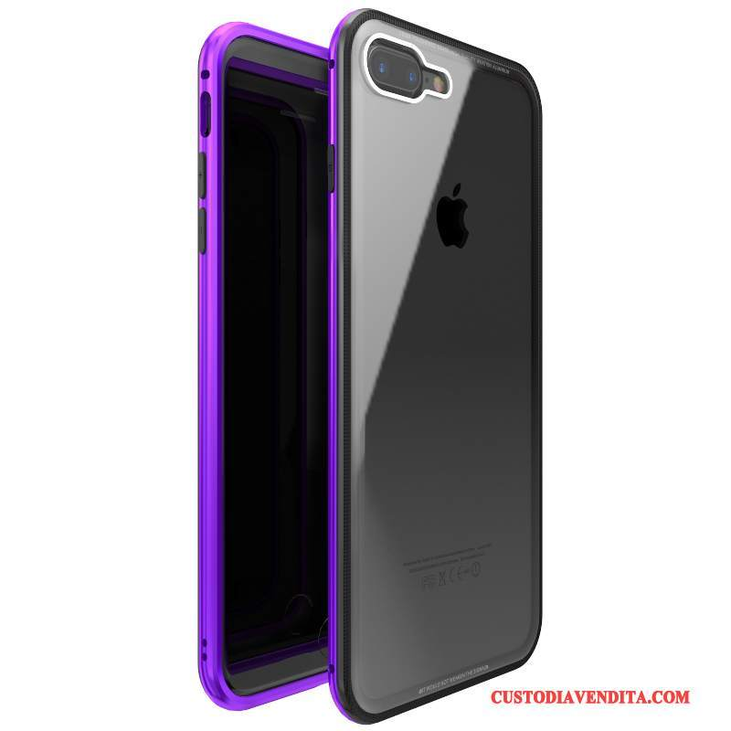 Custodia iPhone 7 Plus Protezione Tutto Incluso Porpora, Cover iPhone 7 Plus Vetro Temperatotelefono