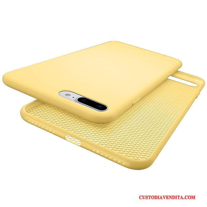 Custodia iPhone 7 Plus Silicone Morbidotelefono, Cover iPhone 7 Plus Giallo Anti-caduta