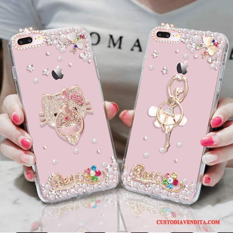 Custodia iPhone 7 Plus Strass Anti-caduta Ornamenti Appesi, Cover iPhone 7 Plus Silicone Morbido Rosa