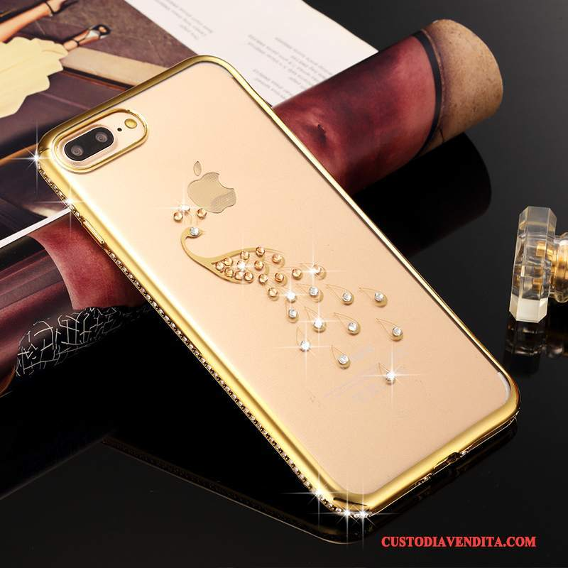 Custodia iPhone 7 Plus Strass Lusso Oro, Cover iPhone 7 Plus Silicone Telefono Tutto Incluso