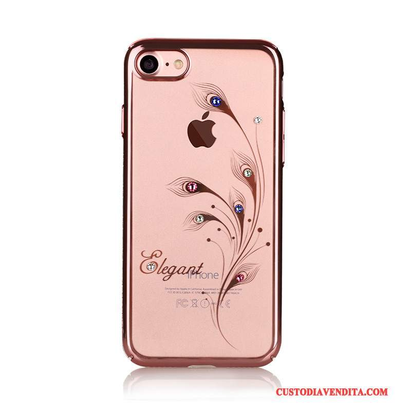 Custodia iPhone 7 Plus Strass Trasparente Oro, Cover iPhone 7 Plus Protezione Telefono Rosa