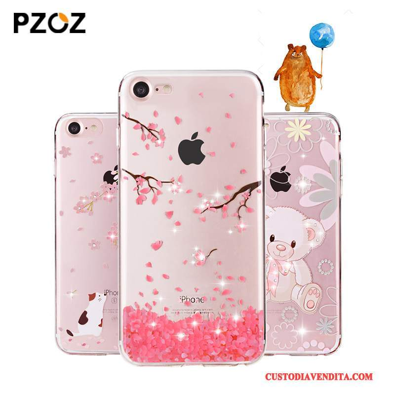 Custodia iPhone 7 Plus Strass Trasparentetelefono, Cover iPhone 7 Plus Silicone Nuovo Rosa