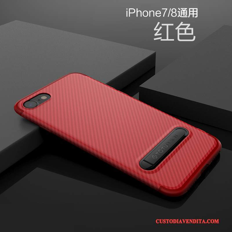 Custodia iPhone 7 Silicone Morbidotelefono, Cover iPhone 7 Sottile Rosso