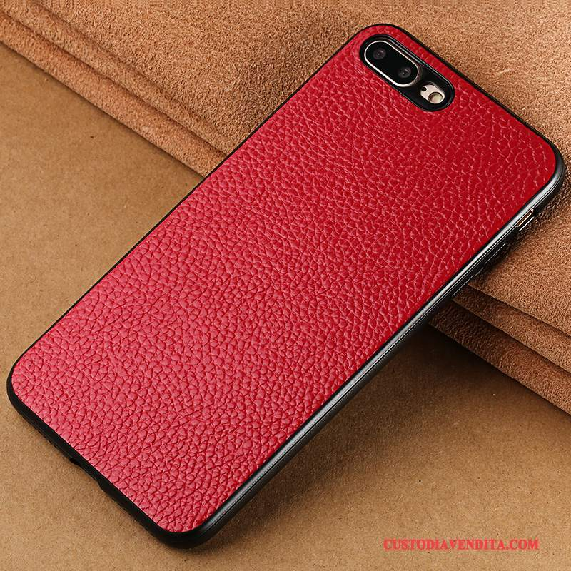 Custodia iPhone 8 Pelle Anti-caduta Tutto Incluso, Cover iPhone 8 Creativo Telefono Rosso