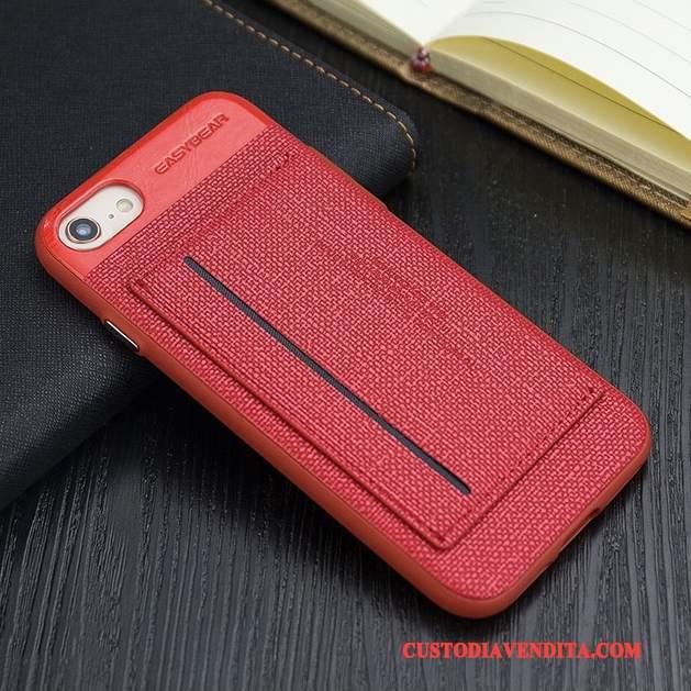 Custodia iPhone 8 Pelle Supporto Affari, Cover iPhone 8 Protezione Rosso Anti-caduta