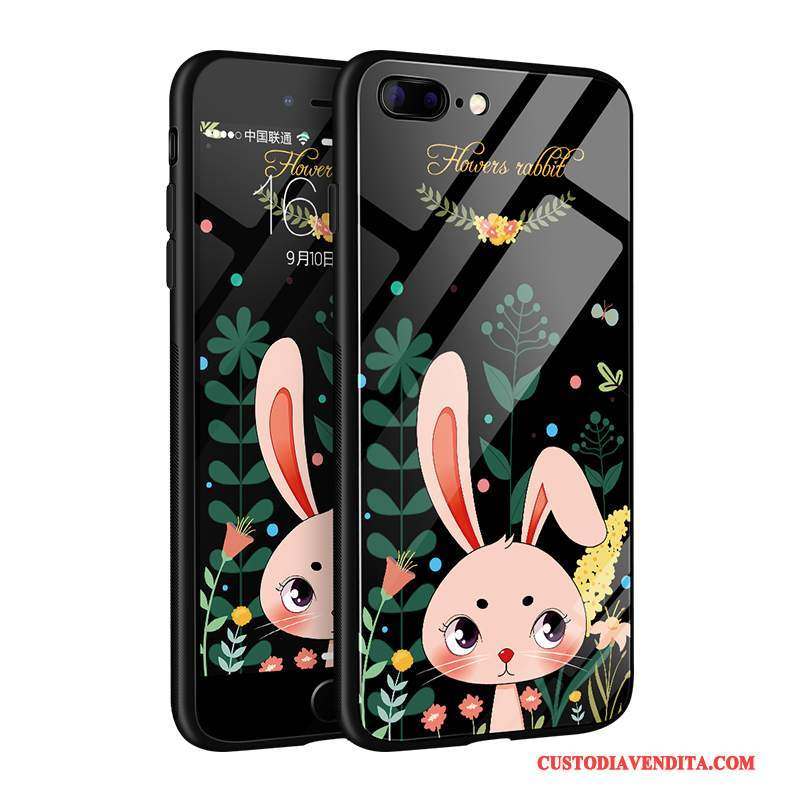 Custodia iPhone 8 Plus Cartone Animato Bello Nero, Cover iPhone 8 Plus Silicone Vetro Tutto Incluso