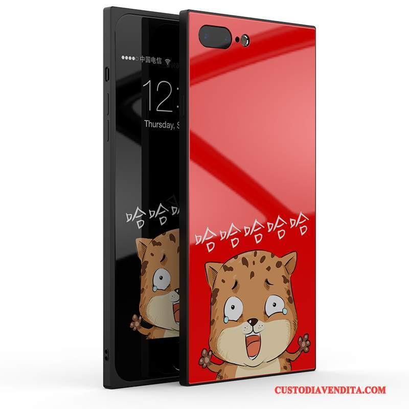 Custodia iPhone 8 Plus Creativo Tendenza Nuovo, Cover iPhone 8 Plus Silicone Vetro Rosso