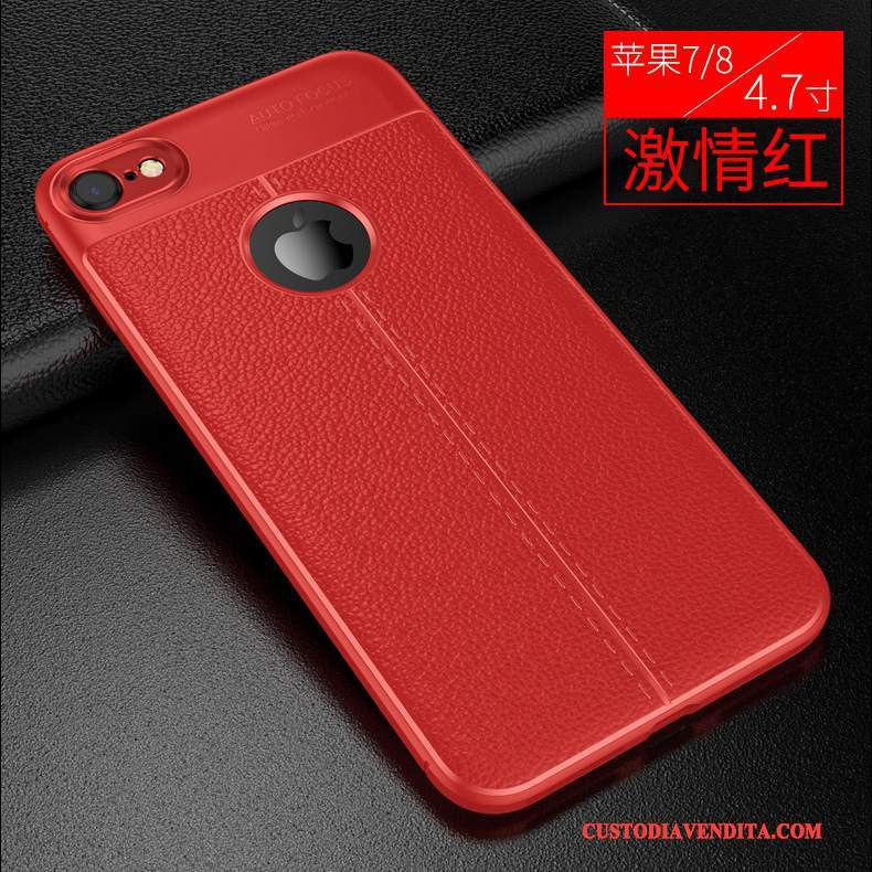 Custodia iPhone 8 Plus Pelle Anti-caduta Tendenza, Cover iPhone 8 Plus Silicone Modello Rosso