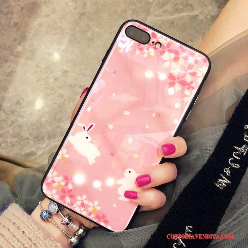 Custodia iPhone 8 Plus Protezione Telefono Vetro, Cover iPhone 8 Plus Rosa Net Red