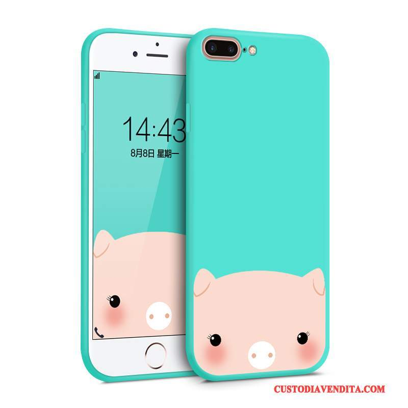 Custodia iPhone 8 Plus Silicone Di Personalità Blu, Cover iPhone 8 Plus Colore Marchio Di Tendenza Tutto Incluso