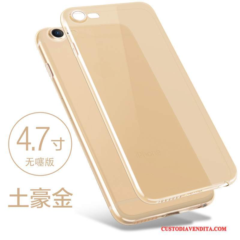 Custodia iPhone 8 Plus Silicone Morbido Oro, Cover iPhone 8 Plus Telefono Sottile