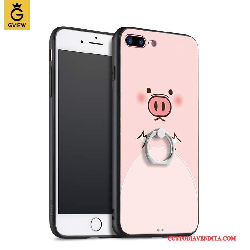 Custodia iPhone 8 Plus Silicone Rosa Marchio Di Tendenza, Cover iPhone 8 Plus Ringtelefono