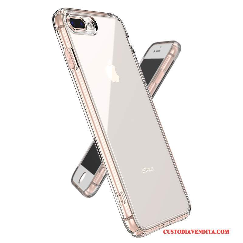 Custodia iPhone 8 Plus Silicone Telefono Trasparente, Cover iPhone 8 Plus Gasbag Rosa