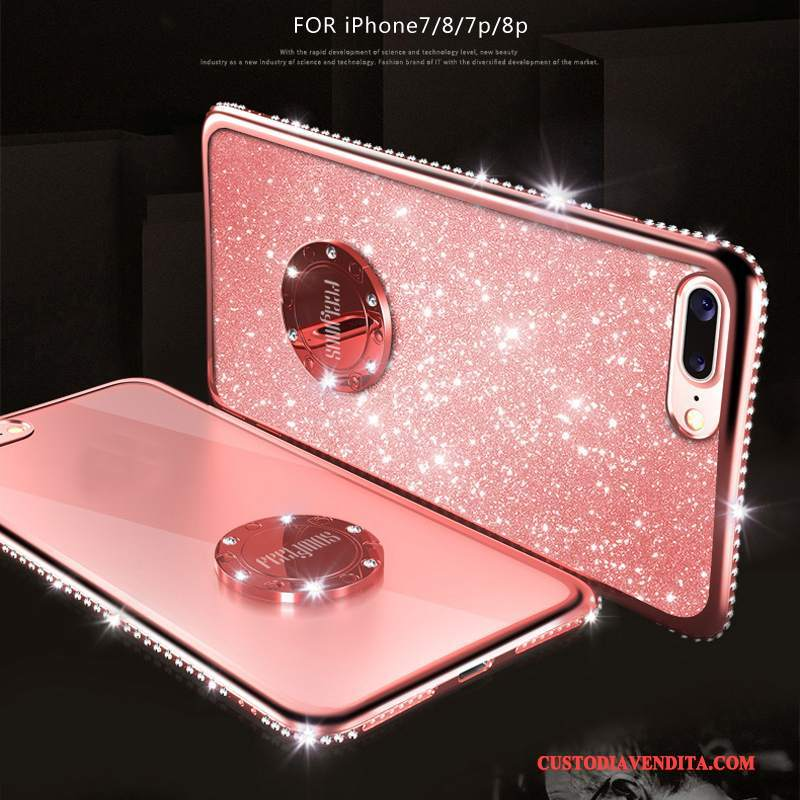 Custodia iPhone 8 Plus Strass Anti-caduta Elegante, Cover iPhone 8 Plus Silicone Marchio Di Tendenza Ring