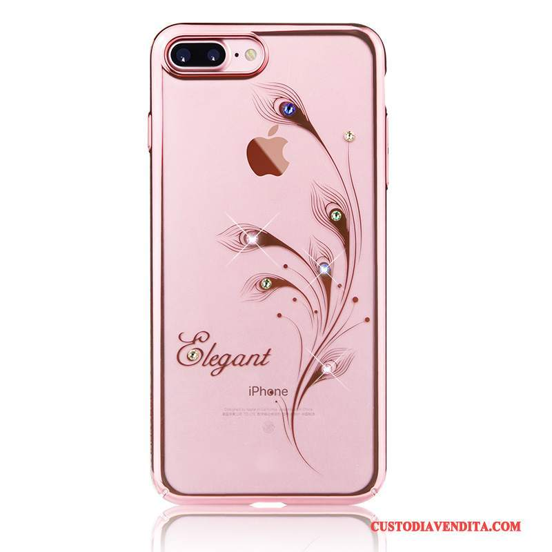 Custodia iPhone 8 Plus Strass Lusso Elegante, Cover iPhone 8 Plus Rosa Tendenza