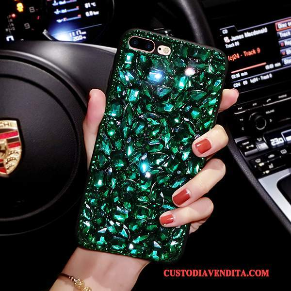 Custodia iPhone 8 Plus Strass Verde Scuro Morbido, Cover iPhone 8 Plus Silicone Rosso Europa
