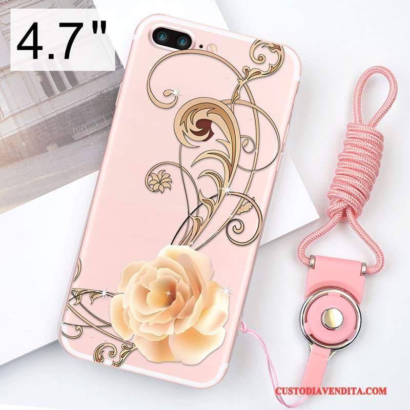 Custodia iPhone 8 Silicone Ornamenti Appesi Anti-caduta, Cover iPhone 8 Rosa Morbido