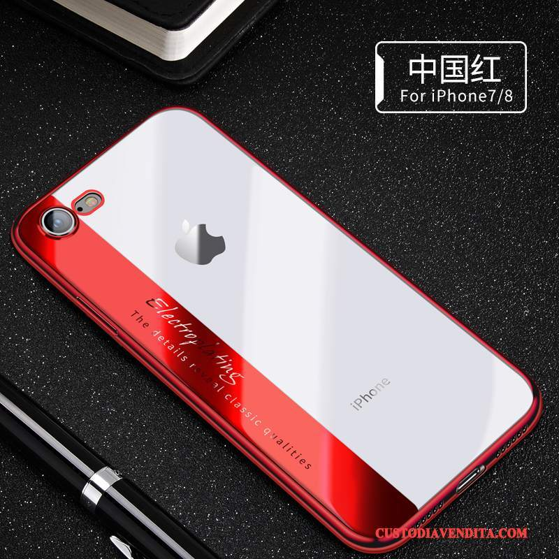 Custodia iPhone 8 Silicone Tendenza Rosso, Cover iPhone 8 Morbidotelefono
