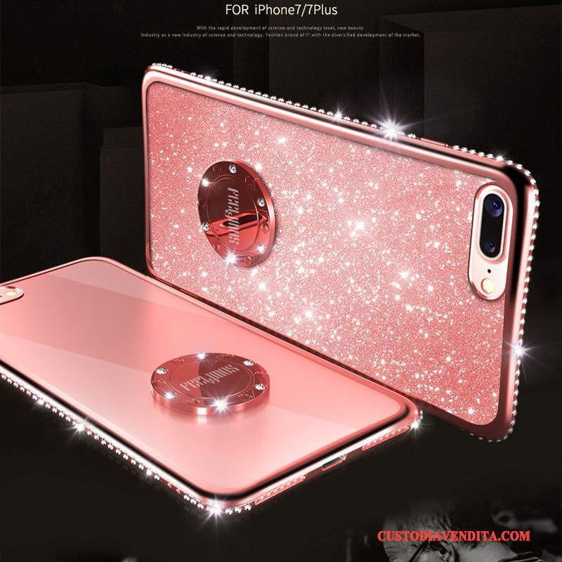 Custodia iPhone 8 Strass Oro Rosso, Cover iPhone 8 Net Red Rosa