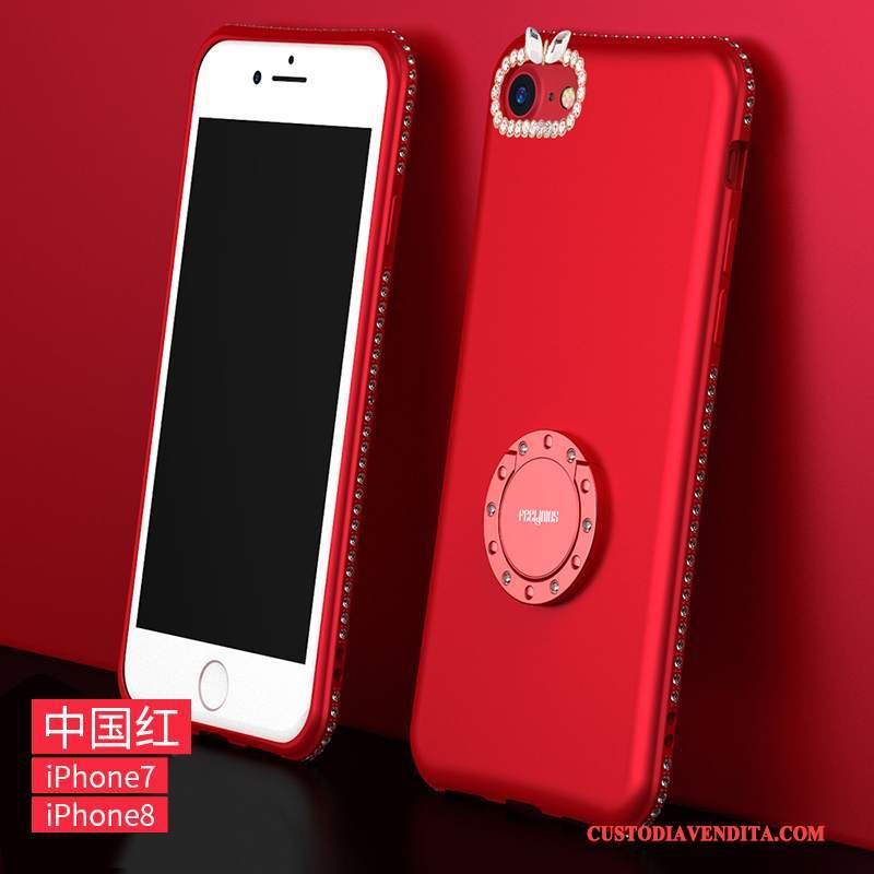 Custodia iPhone 8 Strass Tutto Incluso Rosso, Cover iPhone 8 Silicone Telefono Anti-caduta