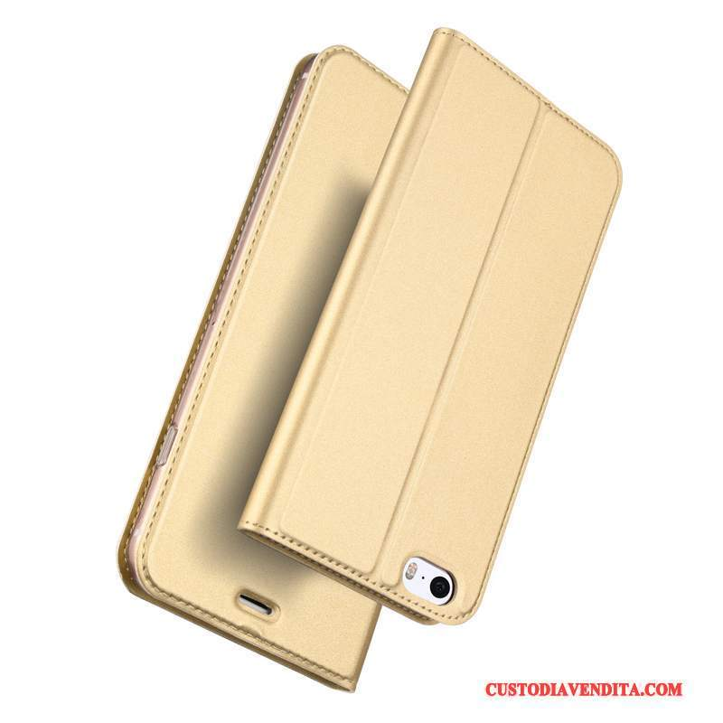 Custodia iPhone Se Folio Borse Oro, Cover iPhone Se Pelle Leggere Affari