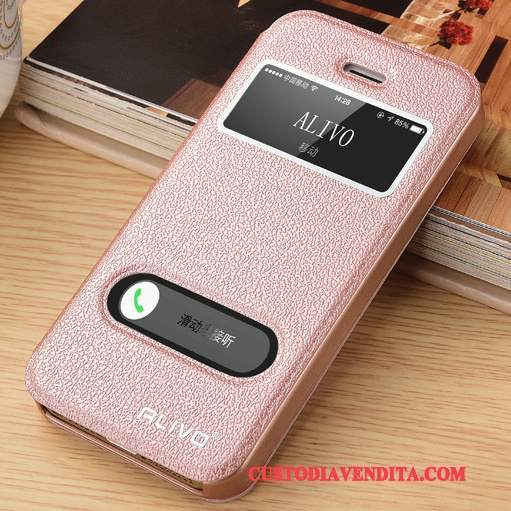 Custodia iPhone Se Folio Difficiletelefono, Cover iPhone Se Pelle Tendenza Rosa