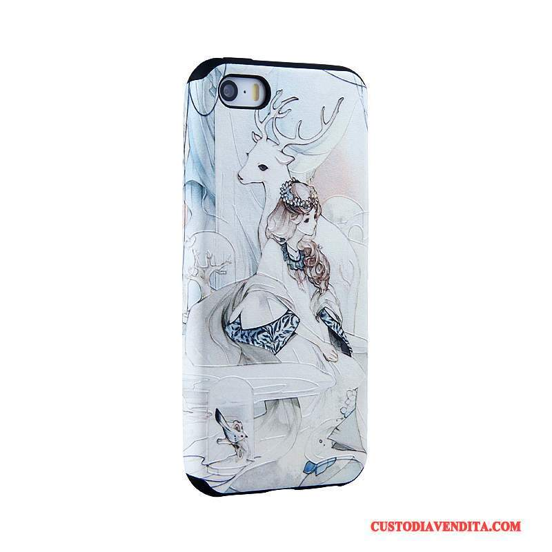 Custodia iPhone Se Goffratura Blu Chiarotelefono, Cover iPhone Se Cartone Animato Tendenza Morbido