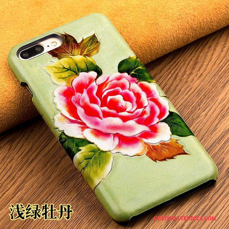 Custodia iPhone Se Pelle Anti-cadutatelefono, Cover iPhone Se Goffratura Coperchio Posteriore Verde
