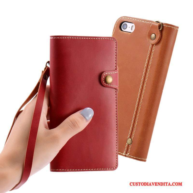 Custodia iPhone Se Pelle Ornamenti Appesi Vino Rosso, Cover iPhone Se Folio Tendenzatelefono