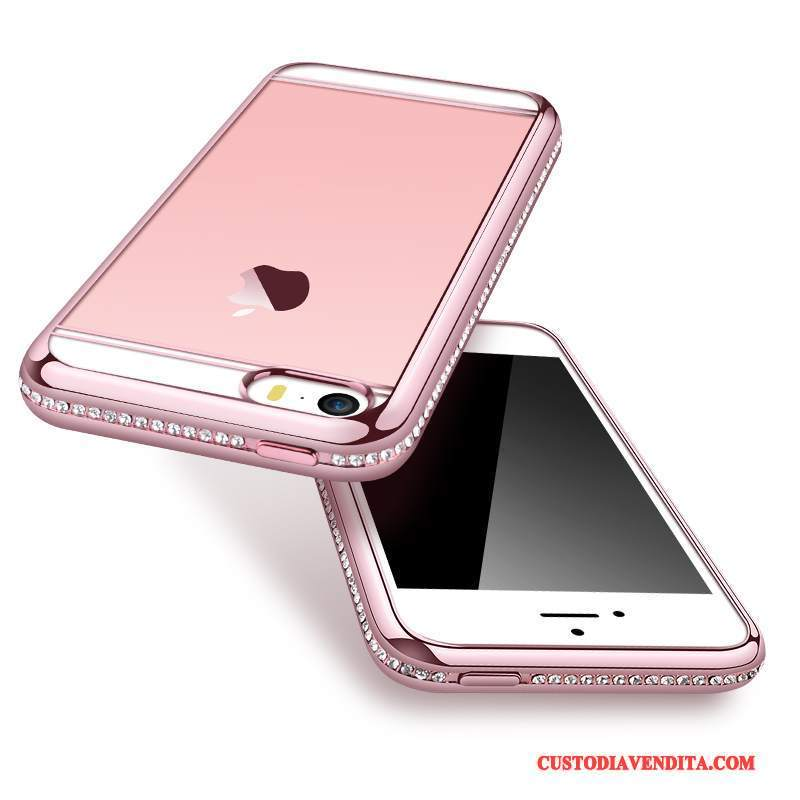 Custodia iPhone Se Protezione Oro Rosa Con Strass, Cover iPhone Se Strass Telefono Tendenza