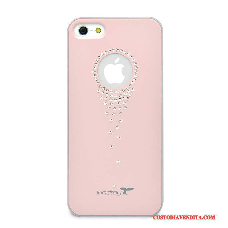Custodia iPhone Se Strass Rosa Rosso, Cover iPhone Se Moda Telefono