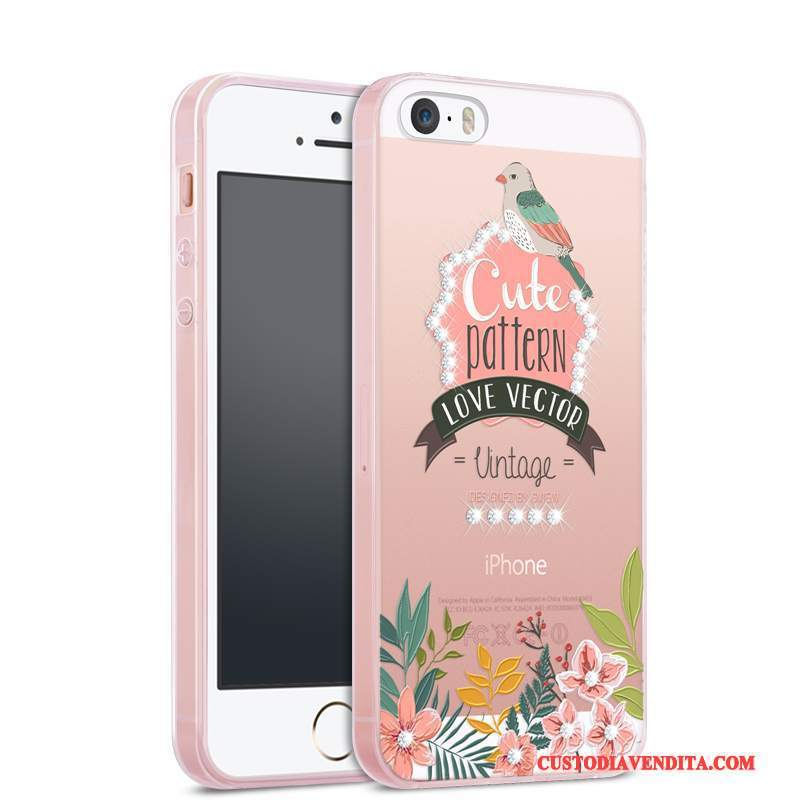 Custodia iPhone Se Strass Trasparente Tendenza, Cover iPhone Se Silicone Tutto Incluso Anti-caduta