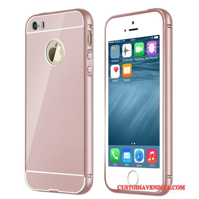 Custodia iPhone Se Telefono Rosa, Cover iPhone Se Metallo Telaio