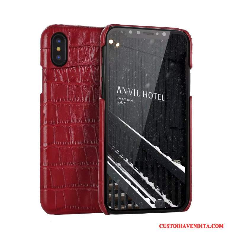 Custodia iPhone X Pelle Anti-cadutatelefono, Cover iPhone X Protezione Rosso Affari