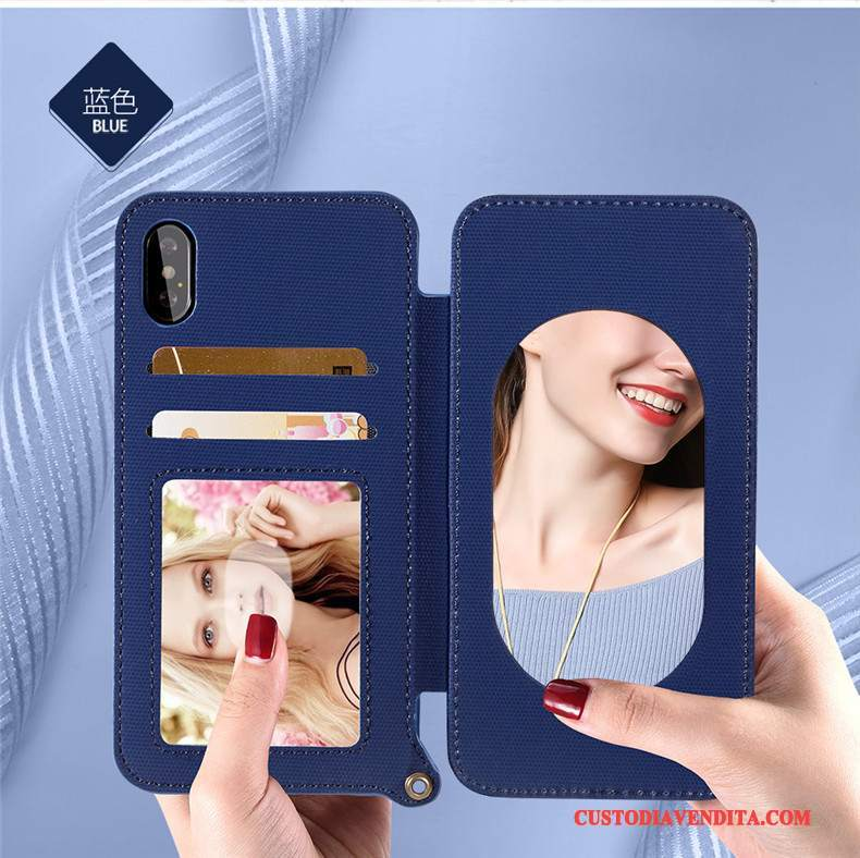 Custodia iPhone X Pelle Blu Carta, Cover iPhone X Silicone Ornamenti Appesi Nuovo