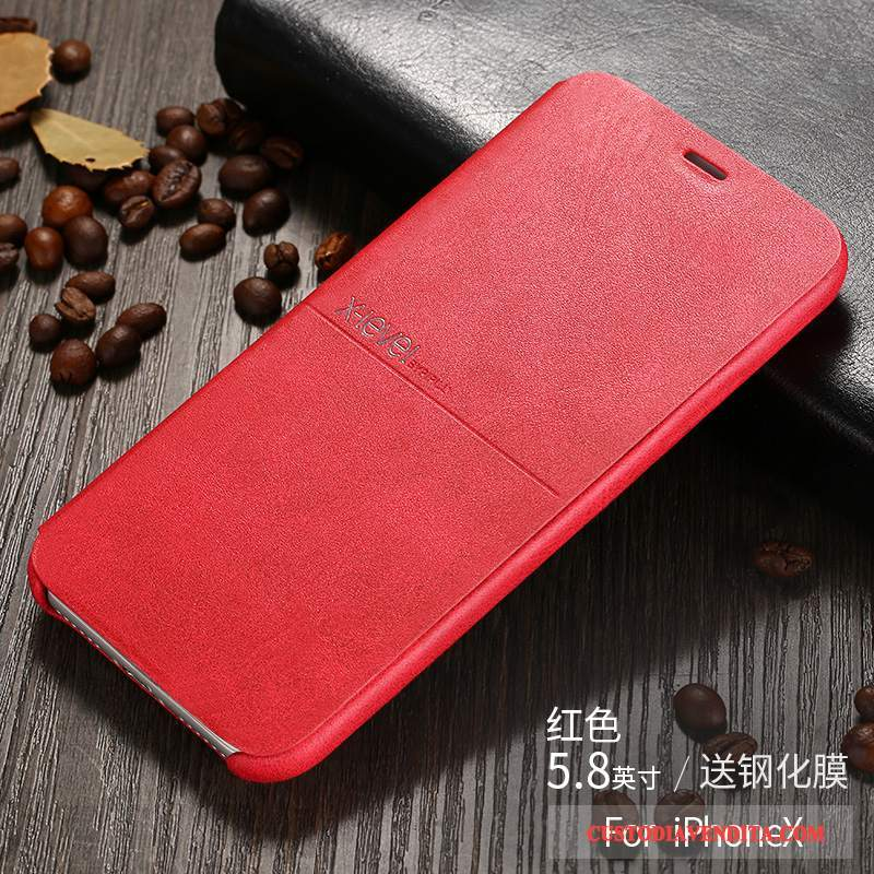 Custodia iPhone X Pelle Sottile Rosso, Cover iPhone X Folio Affaritelefono