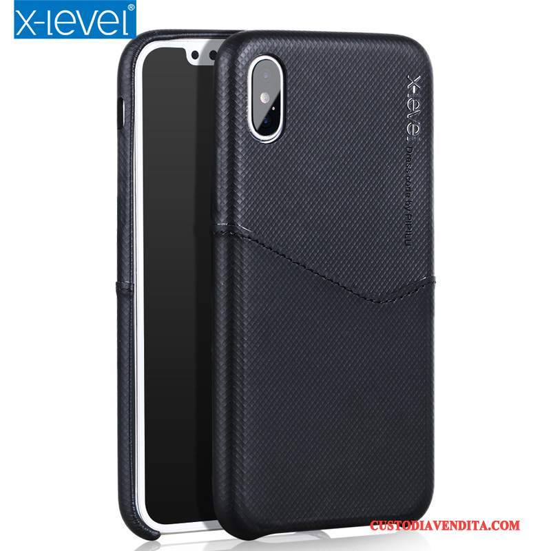 Custodia iPhone X Protezione Sottile Nero, Cover iPhone X Pelle Telefono Carta