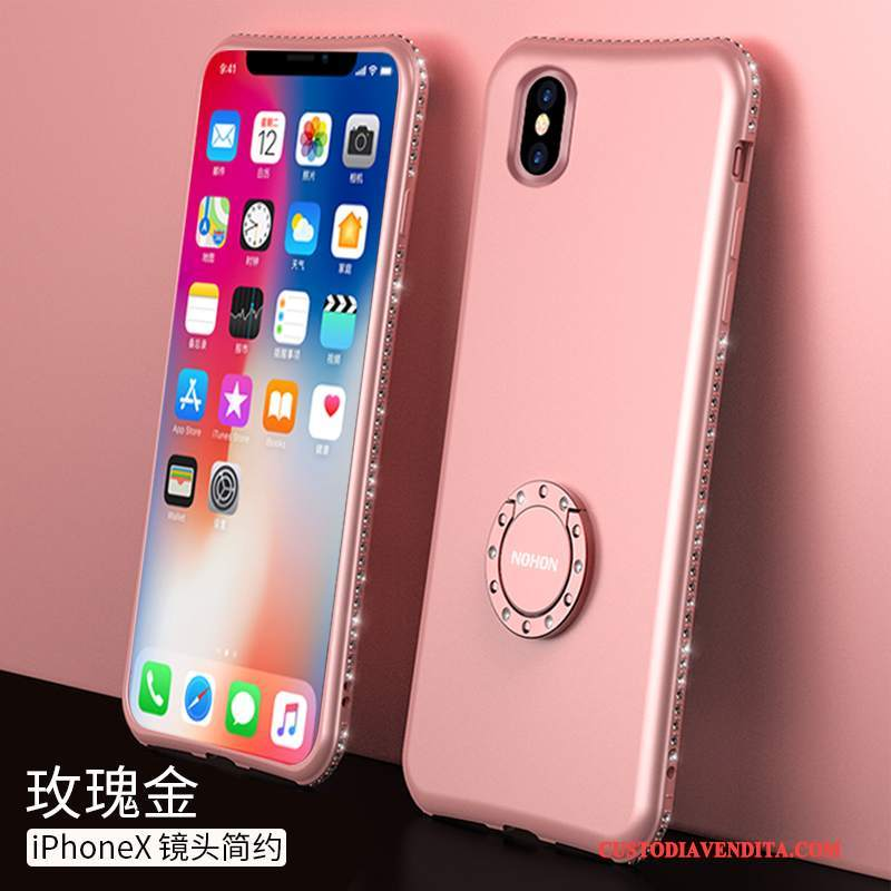 Custodia iPhone X Silicone Anti-caduta Morbido, Cover iPhone X Sottile Rosa