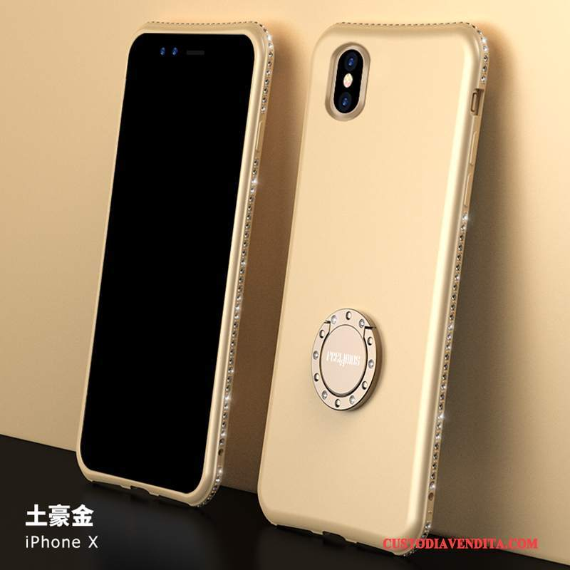 Custodia iPhone X Strass Sottile Marchio Di Tendenza, Cover iPhone X Silicone Oro Anti-caduta