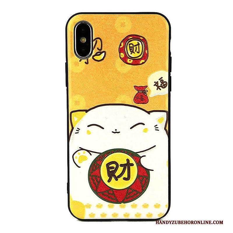 Custodia iPhone Xs Goffratura Gattinotelefono, Cover iPhone Xs Giallo Ricchezza